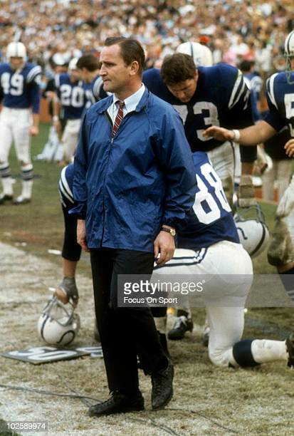 BALTIMORE MD CIRCA 1960's Head Coach Don Shula of the Baltimore Colts in this portrait watching the action from the sidelines circa mid 1960's during...