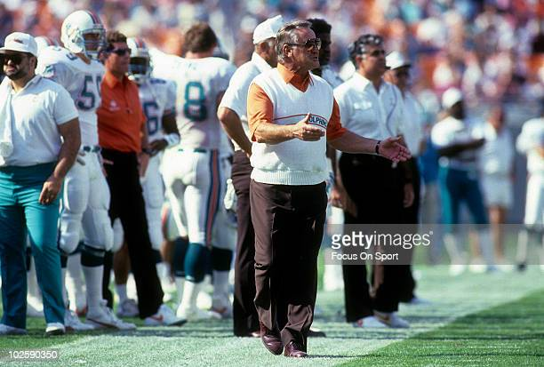 CIRCA 1990's Head Coach Don Shula of the Miami Dolphins in this portrait on the sidelines circa early 1990's during an NFL football game Shula...
