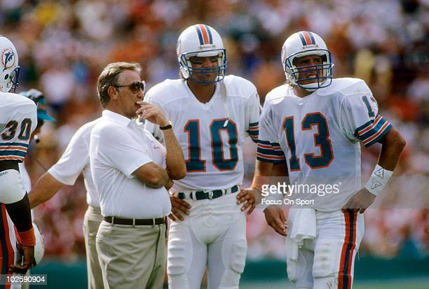 CIRCA 1980's Head Coach Don Shula of the Miami Dolphins in this portrait on the sidelines talking with quarterbacks Dan Marino and Don Strock circa...