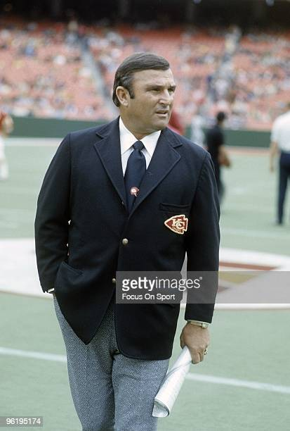 CITY MO CIRCA 1970's Head Coach Hank Stram of the Kansas City Chiefs on the field prior to the start of a mid circa 1970's NFL football game at...