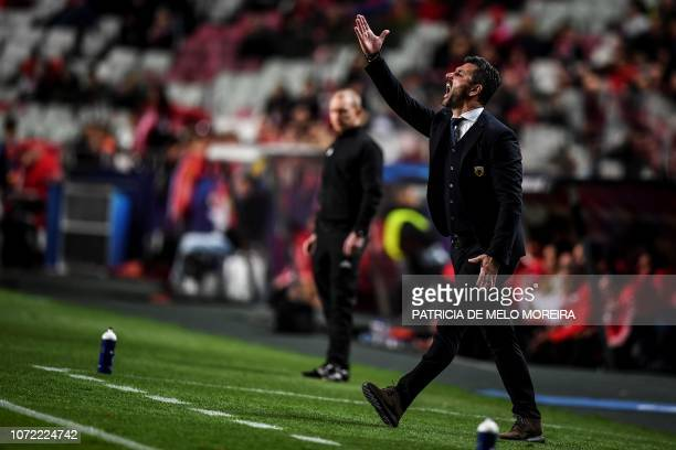 AEK's head coach Marinos Ouzounidis gestures from the sideline during the Champions League football match Group E SL Benfica against AEK Athens at...