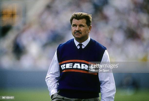 S: Head Coach Mike Ditka of the Chicago Bears on the field before a mid circa 1980's NFL football game at Soldier Field in Chicago, Illinois. Ditka...