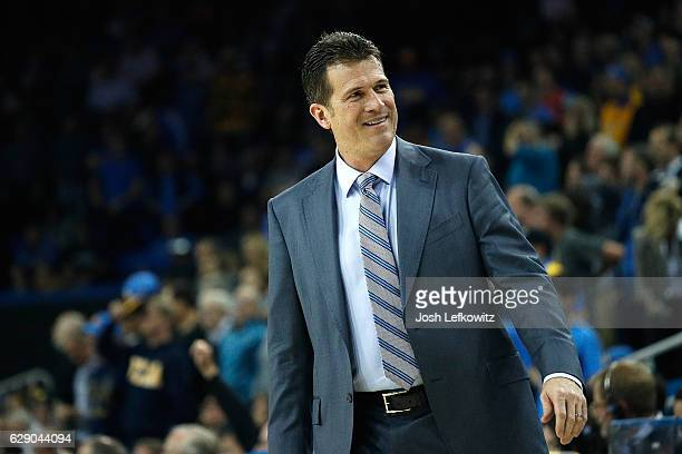 UCLA's Head Coach Steve Alford is seen at the UCLA Men's Basketball game against the Univeristy of Michigan at Pauley Pavilion on December 10 2016 in...
