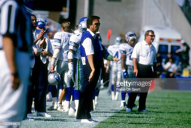 CIRCA 1990's Head Coach Tom Flores of the Seattle Seahawks blue sweater in this portrait watching the action from the sidelines circa mid 1990's...