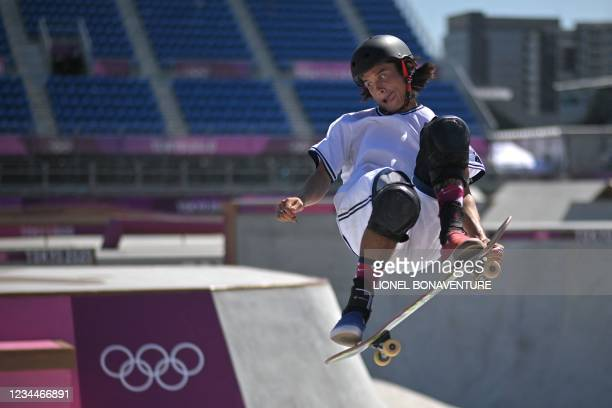 S Heimana Reynolds competes in the men's park heats during the Tokyo 2020 Olympic Games at Ariake Sports Park Skateboarding in Tokyo on August 05,...