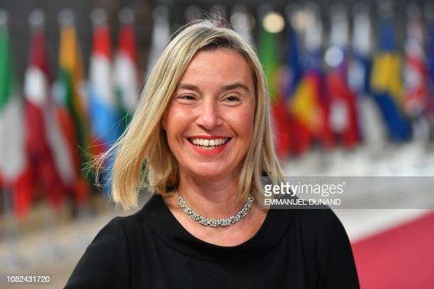 EU's High representative for foreign affairs and security policy Federica Mogherini arrives at the European Council in Brussels on October 18 2018...