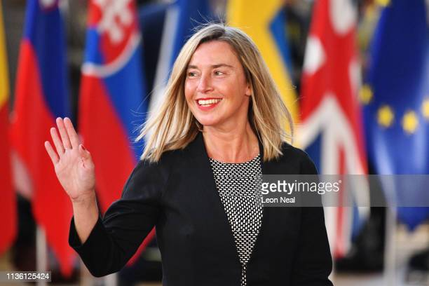 EU's High representative for foreign affairs and security policy Federica Mogherini arrives ahead of a European Council meeting on Brexit at The...