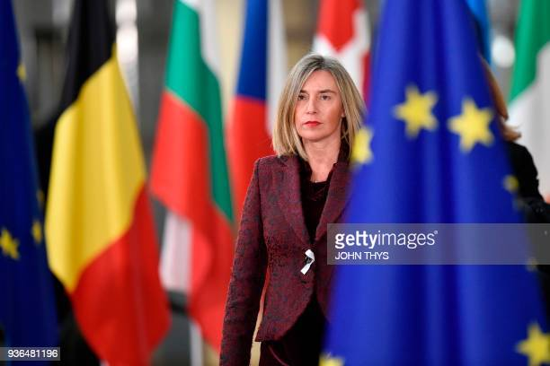 EU's High representative for foreign affairs and security policy Federica Mogherini arrives on the first day of a summit of European Union leaders at...