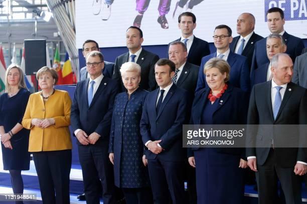 EU's High representative for foreign affairs and security policy Federica Mogherini Germany's Chancellor Angela Merkel Lithuania's President Dalia...