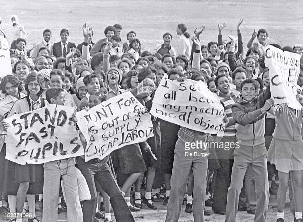 AFRICA 1980's High school students protesting during the apartheidera waving posters and placards around in the 1980's in South Africa