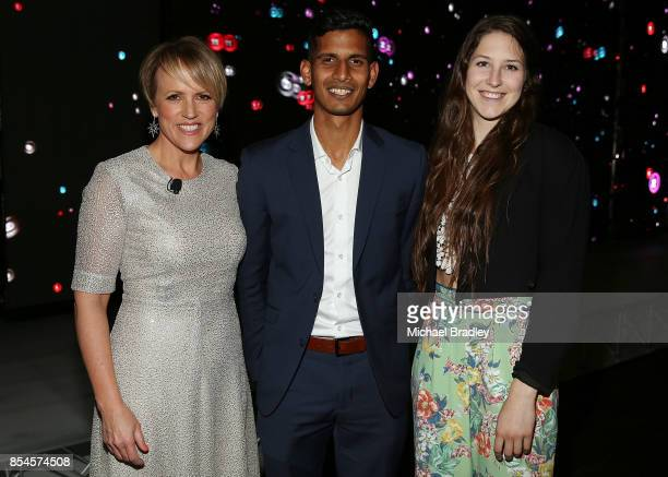 TVNZ's Hilary Barry Black Sticks hockey player Arun Panchia and Pole Vaulter Eliza McCartney attend TVNZ's annual event Showcase at Shed 10 on...