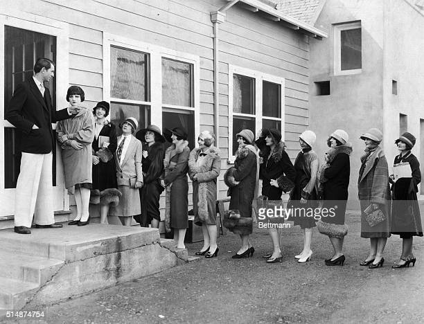 1920's Hollywood CA Extras lined up in front of Paramount Studios Photo