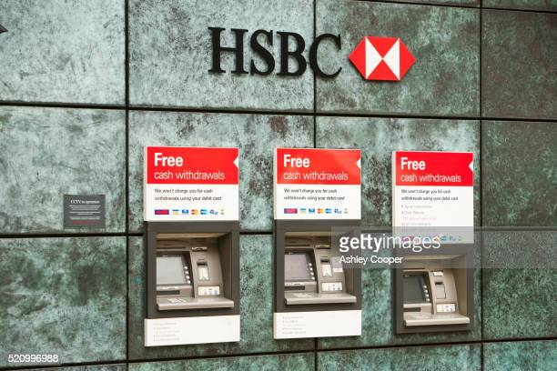 hsbc atm's in london, uk. - hsbc stock pictures, royalty-free photos & images