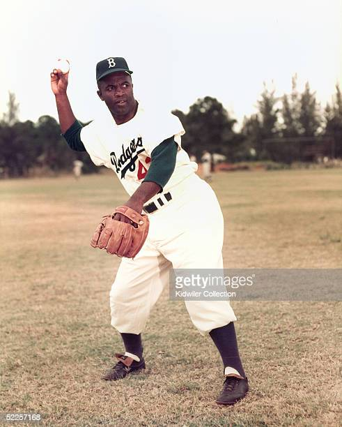 S: Infielder Jackie Robinson of the Brooklyn Dodgers poses for a portrait during Spring Training circa 1950's in Vero Beach, Florida. Robinson played...