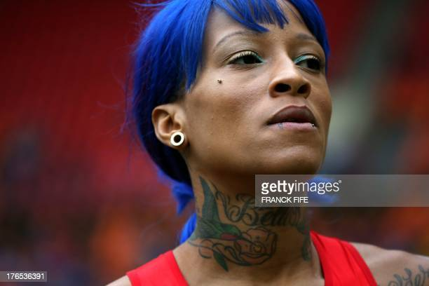 US's Inika McPherson competes during the women's high jump qualifications at the 2013 IAAF World Championships at the Luzhniki stadium in Moscow on...