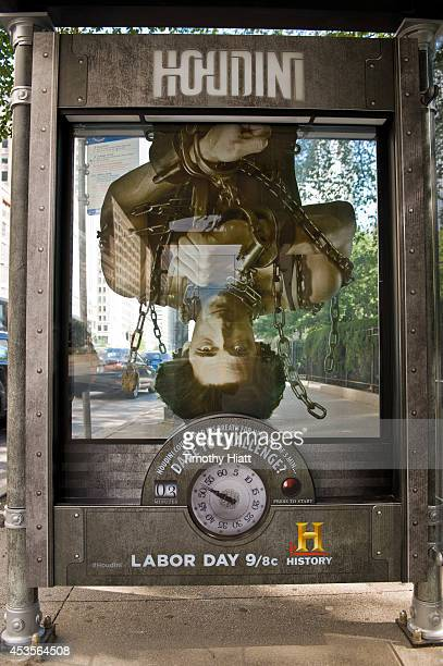 HISTORY's innovative 3D bus shelters promoting HOUDINI's Greatest Escape on August 13 2014 in Chicago Illinois