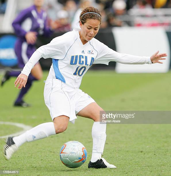UCLA's Iris Mora kicks the ball downfield during the 2005 NCAA Women's College Cup championship game between the University of California Los Angeles...