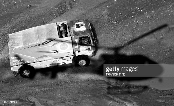 DAF's Israeli truck driver Aviv Kadshai and codrivers Izhar Armony and Maoz Vilder compete during the Stage 12 of the 2018 Dakar Rally between...