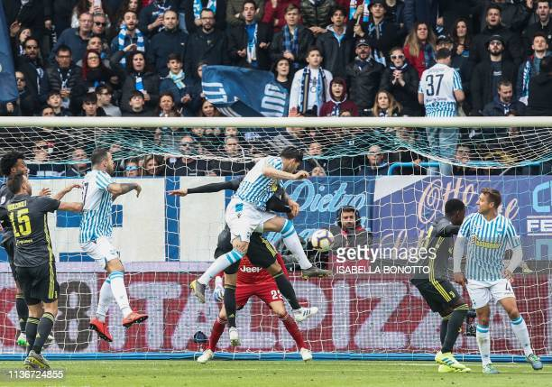 S Italian defender Kevin Bonifazi scores an equalizer during the Italian Serie A football match SPAL 2013 vs Juventus on April 13, 2019 at the...