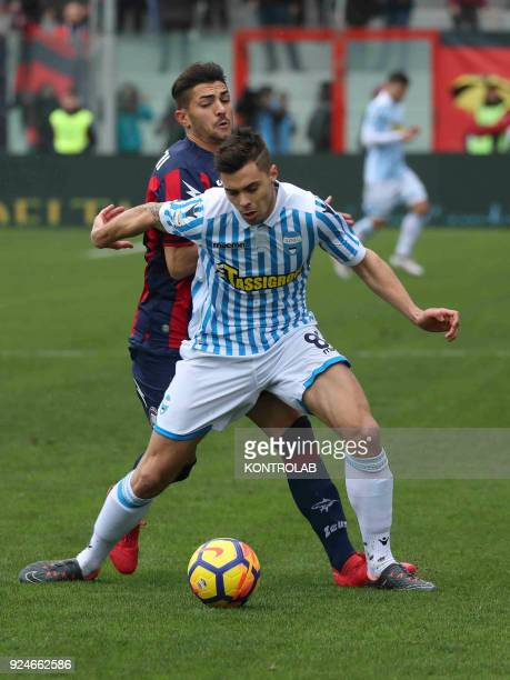 STADIUM CROTONE CALABRIA ITALY SPAL's Italian midfielder Alberto Grassi fights for the ball with Crotone's Italian forward Andrea Nalini during the...