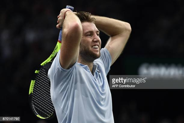 USA's Jack Sock celebrates a set against France's Julien Benneteau during the semifinal round at the ATP World Tour Masters 1000 indoor tennis...