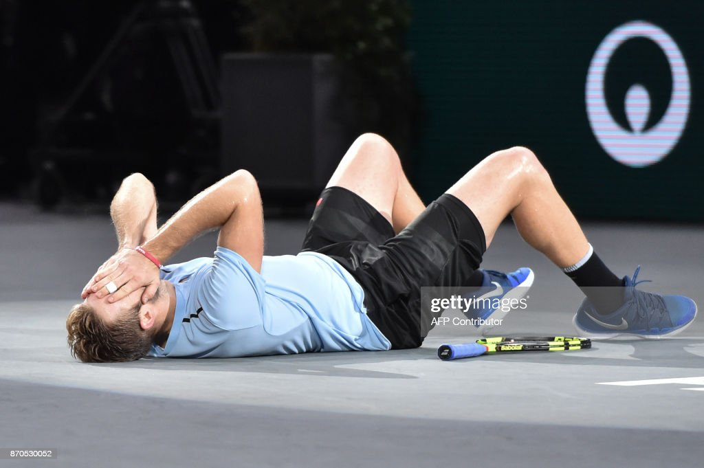 USA's Jack Sock celebrates winning against Serbia's Filip Krajinovic during the final of the ATP World Tour Masters 1000 indoor tennis tournament on November 5, 2017 in Paris. Sock won the match 5-7, 6-4 and 6-1. /