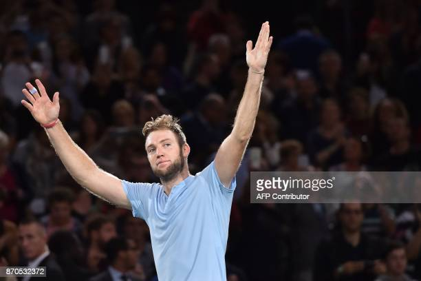 TOPSHOT USA's Jack Sock celebrates winning against Serbia's Filip Krajinovic during the final of the ATP World Tour Masters 1000 indoor tennis...