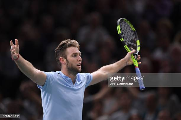 USA's Jack Sock reacts as he plays against Serbia's Filip Krajinovic during the final of the ATP World Tour Masters 1000 indoor tennis tournament on...