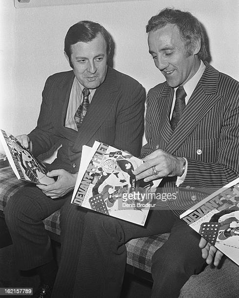 MONTREAL CANADA CIRCA 1970's Jacques Plante looks at a magazine with his photo on the cover circa the 1970's in Montreal Quebec Canada