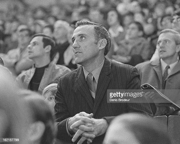 MONTREAL CANADA CIRCA 1970's Jacques Plante looks on from the stands during a game at the Montreal Forum circa the 1970's in Montreal Quebec Canada