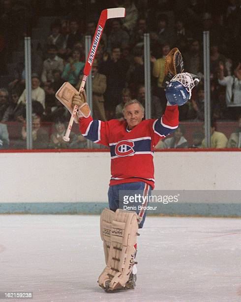 MONTREAL CANADA CIRCA 1970's Jacques Plante of the Montreal Canadiens salutes the crowd during a game at the Montreal Forum circa the 1970's in...