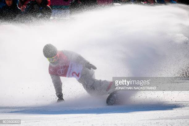 TOPSHOT USA's Jamie Anderson competes during the final of the women's snowboard big air event at the Alpensia Ski Jumping Centre during the...