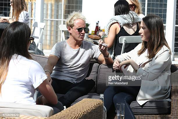 MIC's Jamie Laing spotted vaping on a bespoke blu ecigarette at Bluebird on April 21 2015 in London England