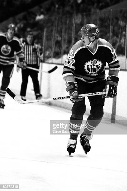 BOSTON MA 1980's Jarri Kurri of the Edmonton Oilers skates in game against the Boston Bruins at Boston Garden