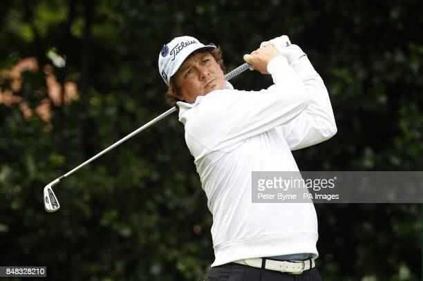 USA's Jason Dufner tees off