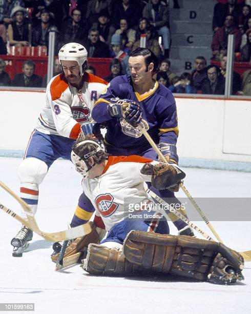 MONTREAL 1960's JeanClaude Tremblay of the Montreal Canadiens skates against Bill Inglis of the Los Angeles Kings in the late 1960's at the Montreal...