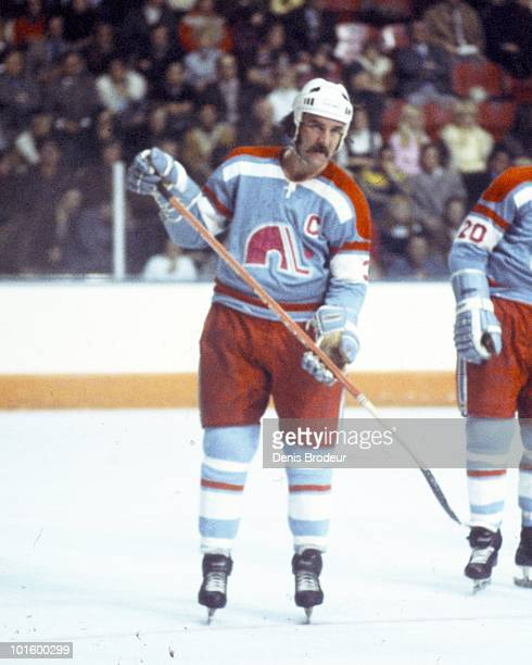 MONTREAL 1970's JeanClaude Tremblay of the Quebec Nordiques skates against the Montreal Canadiens in the 1970's at the Montreal Forum in Montreal...