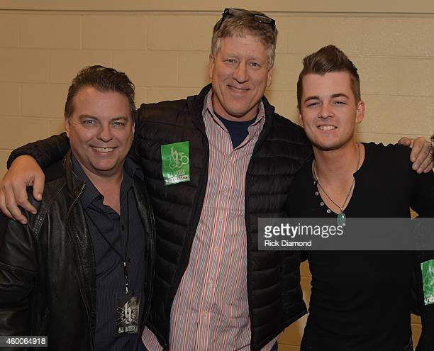 CAA's Jeff Gregg and John Huie with Recording Artist Chase Bryant Backstage during Brantley Gilberts 'Let it Ride Tour' stop at Bridgestone Arena on...