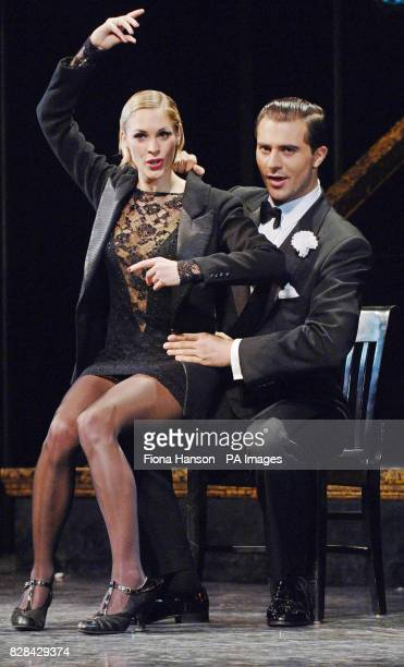 S Jenni Falconer takes to the stage of Chicago at London's Adelphi Theare as Roxie Hart on the knee of Pop Idol's Darius.