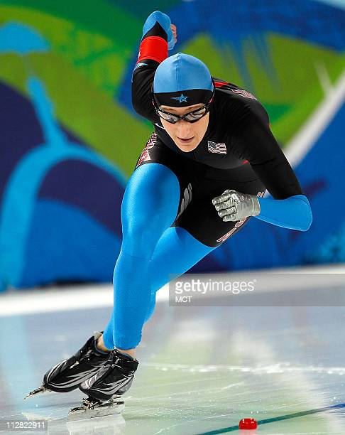 USA's Jennifer Rodriguez competes in the 500 Meter Ladies Speed Skating event during the 2010 Winter Olympics in Vancouver British Columbia Tuesday...