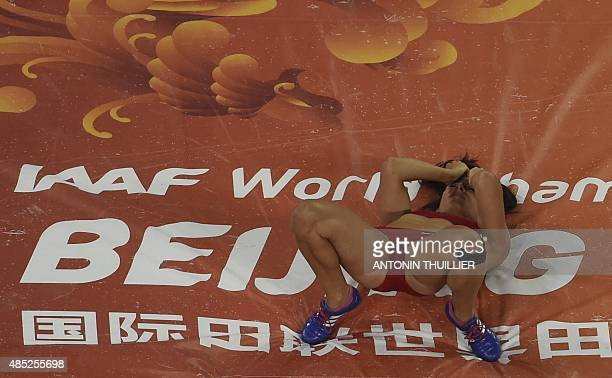 USA's Jennifer Suhr reacts during the final of the women's pole vault athletics event at the 2015 IAAF World Championships at the 'Bird's Nest'...