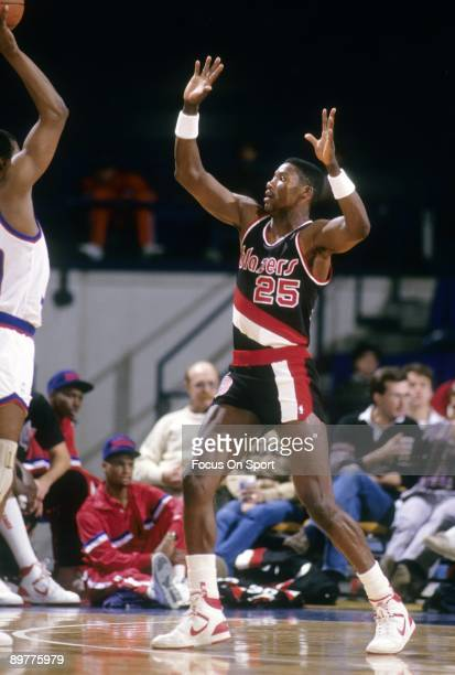 BALTIMORE MD CIRCA 1980's Jerome Kersey of the Portland Trailblazers in action playing defense against the Washington Bullets during a late circa...