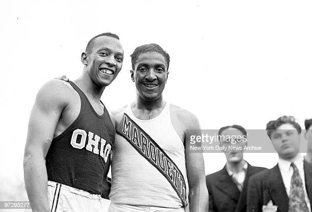 STATES CIRCA 1930's Jesse Owens winner of the 100meter final in Olympic trials at Randalls Island stadium Ralph Metcalfe was second