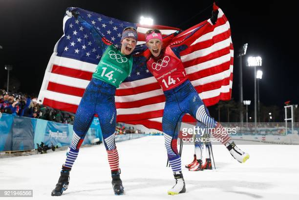 S Jessica Diggins and USA's Kikkan Randall celebrate winning gold in the women's cross country team sprint free final at the Alpensia cross country...