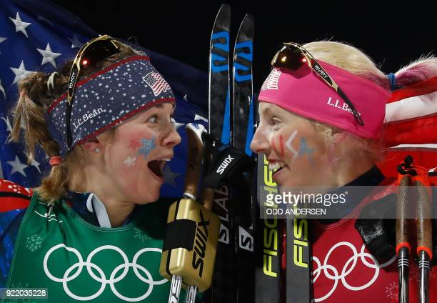 TOPSHOT USA's Jessica Diggins and USA's Kikkan Randall celebrate winning gold in the women's cross country team sprint free final at the Alpensia...