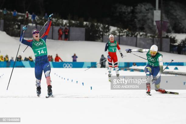 TOPSHOT USA's Jessica Diggins reacts as she crosses the finish line to win team gold as Sweden's Stina Nilsson comes in second and Norway's Maiken...