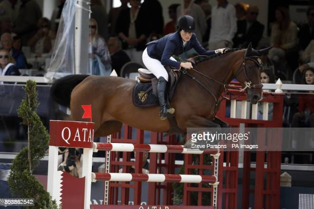 USA's Jessica Springsteen riding Lisona competes in the Massimo Dutti Prix during day three of the 2014 Longines Global Champions Tour at Horse...