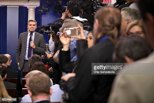 CNN's Jim Acosta reports ahead of White House Press Secretary Sean Spicer's daily press briefing in the James Brady Press Briefing Room at the White...
