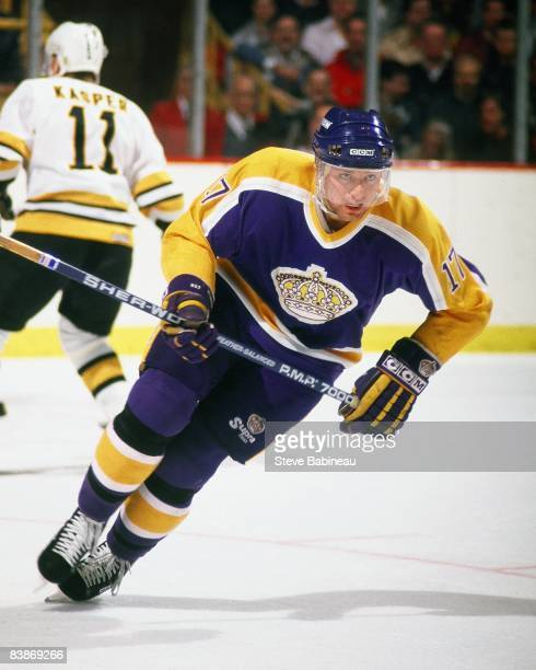 BOSTON MA 1980's Jim Carson of the Los Angeles Kings skates against the Boston Bruins at Boston Garden