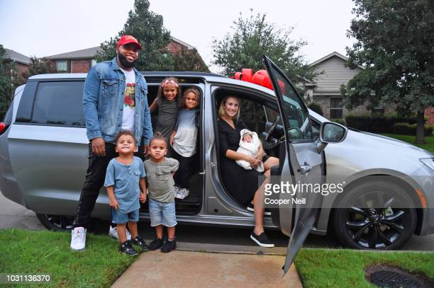 ABC's Jimmy Kimmel Live surprises Dominique and Alexis Swinney and family with a new Chrysler Pacifica vehicle on September 10 2018 in McKinney Texas